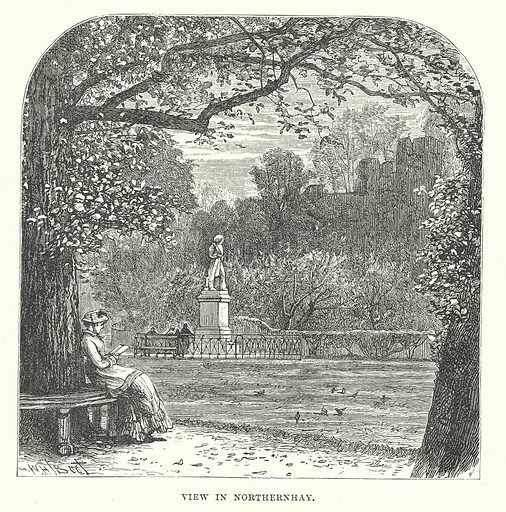 View in Northernhay. Illustration for Our Own County (Cassell, c 1880).