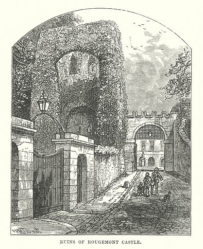 Ruins of Rougemont Castle. Illustration for Our Own County (Cassell, c 1880).