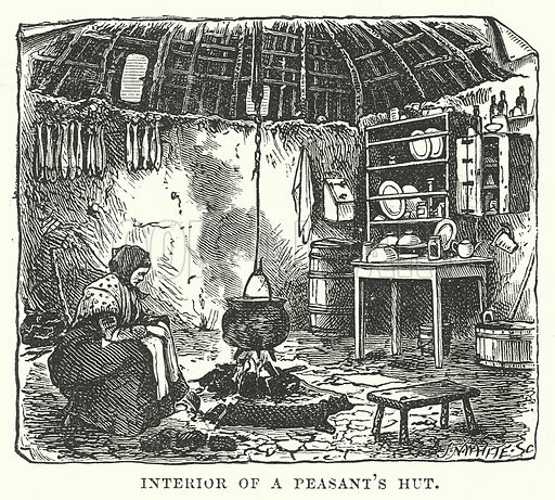 Interior of a Peasant's Hut. Illustration for Our Own County (Cassell, c 1880).