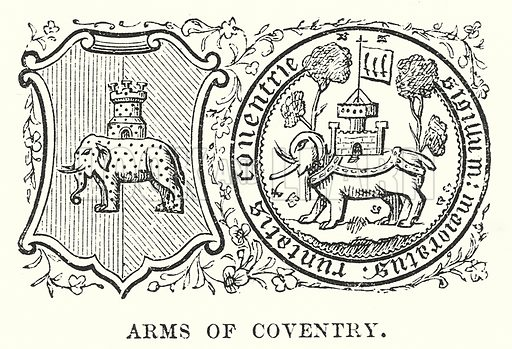 Arms of Coventry. Illustration for Our Own County (Cassell, c 1880).