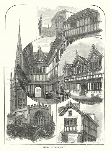 Views in Coventry. Illustration for Our Own County (Cassell, c 1880).