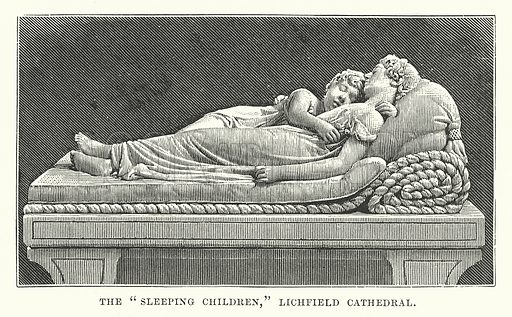 "The ""Sleeping Children,"" Lichfield Cathedral. Illustration for Our Own County (Cassell, c 1880)."