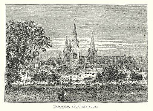 Lichfield, from the South. Illustration for Our Own County (Cassell, c 1880).