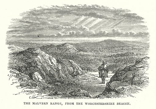 The Malvern Range, from the Worcestershire Beacon. Illustration for Our Own County (Cassell, c 1880).