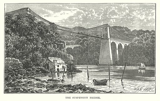 The Suspension Bridge. Illustration for Our Own County (Cassell, c 1880).