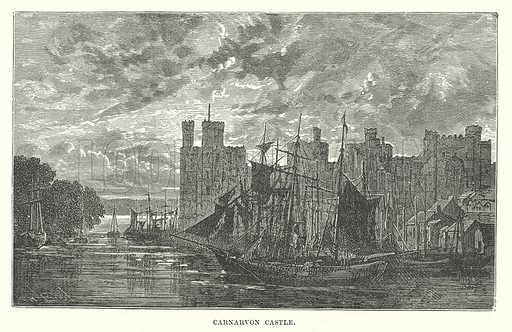 Carnarvon Castle. Illustration for Our Own County (Cassell, c 1880).
