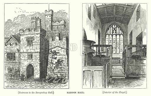 Haddon Hall. Illustration for Our Own County (Cassell, c 1880).