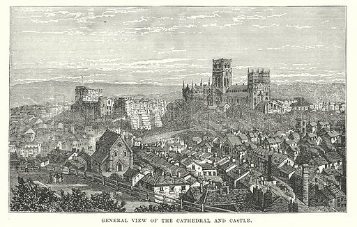 General View of the Cathedral and Castle. Illustration for Our Own County (Cassell, c 1880).