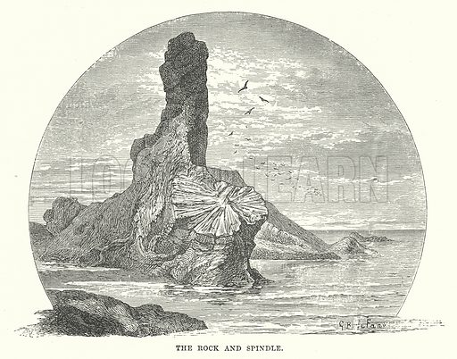 The Rock and Spindle. Illustration for Our Own County (Cassell, c 1880).