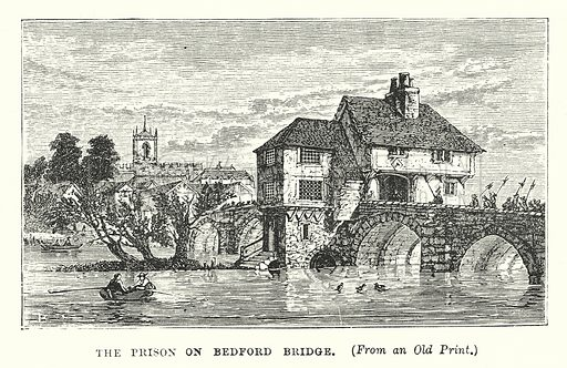 The Prison on Bedford Bridge. Illustration for Our Own County (Cassell, c 1880).