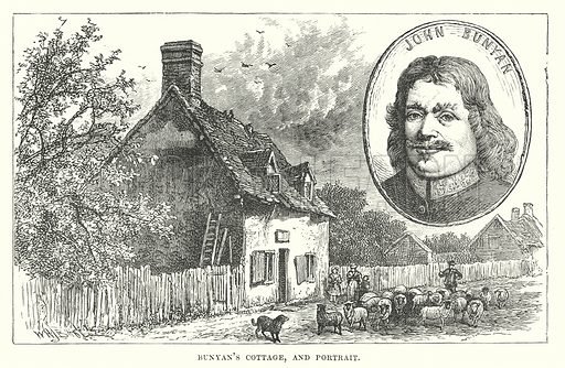 Bunyan's Cottage, and Portrait. Illustration for Our Own County (Cassell, c 1880).