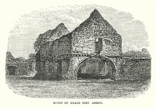 Ruins of Grace Dieu Abbey. Illustration for Our Own County (Cassell, c 1880).
