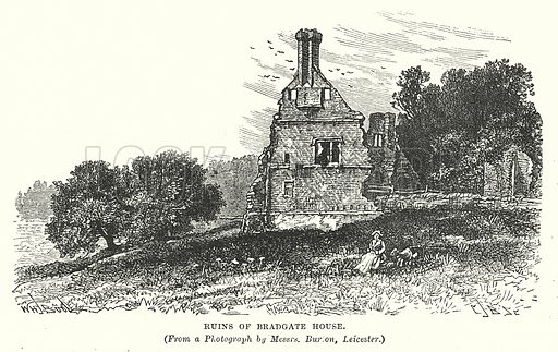 Ruins of Bradgate House. Illustration for Our Own County (Cassell, c 1880).