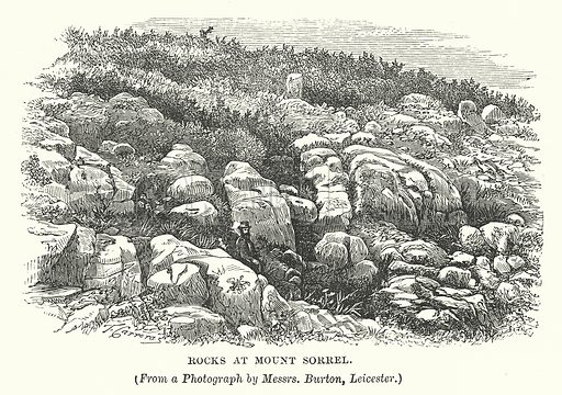 Rocks at Mount Sorrel. Illustration for Our Own County (Cassell, c 1880).