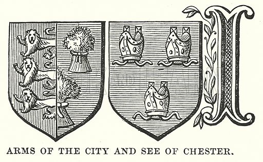 Arms of the City and See of Chester. Illustration for Our Own County (Cassell, c 1880).