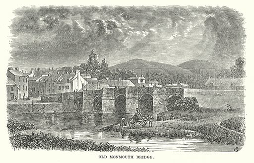 Old Monmouth Bridge. Illustration for Our Own County (Cassell, c 1880).