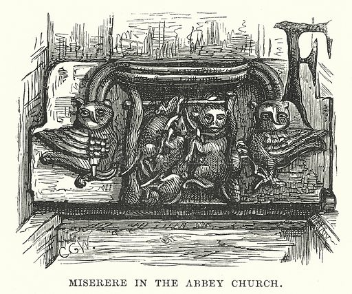 Miserere in the Abbey Church. Illustration for Our Own County (Cassell, c 1880).