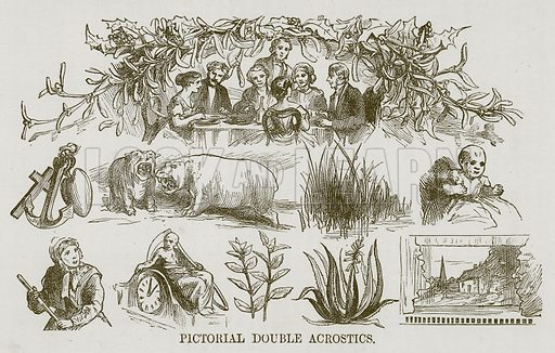 Pictorial Double Acrostics. Illustration for Games for Family Parties and Children (Frederick Warne, c 1880).