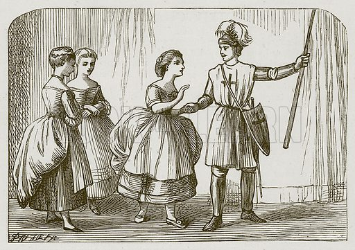 Charades. Illustration for Games for Family Parties and Children (Frederick Warne, c 1880).