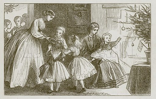 The Christmas Tree. Illustration for Games for Family Parties and Children (Frederick Warne, c 1880).