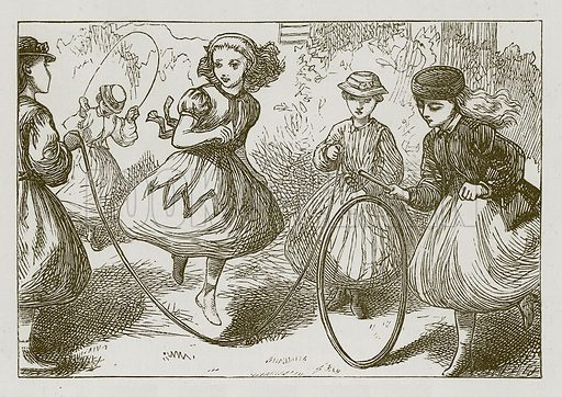Hoop and Skipping-Rope. Illustration for Games for Family Parties and Children (Frederick Warne, c 1880).