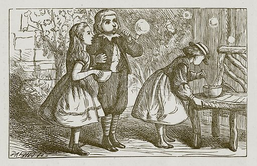 Soap Bubbles. Illustration for Games for Family Parties and Children (Frederick Warne, c 1880).
