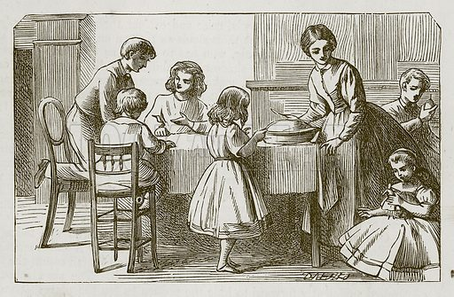 The Bran Pie. Illustration for Games for Family Parties and Children (Frederick Warne, c 1880).