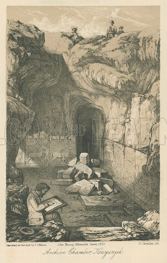 Archive Chamber, Kouyunjik. Illustration for Discoveries in the Ruins of Nineveh and Babylon by Austen Layard (John Murray, 1853).