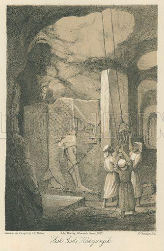 Fish God, Kouyunjik. Illustration for Discoveries in the Ruins of Nineveh and Babylon by Austen Layard (John Murray, 1853).