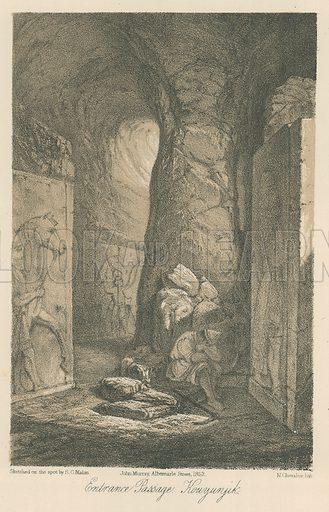 Entrance Passage, Kouyunjik. Illustration for Discoveries in the Ruins of Nineveh and Babylon by Austen Layard (John Murray, 1853).