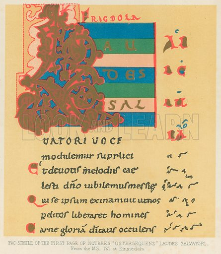"""Facsimile of the first page of Notker's """"Ostersequenz"""" Laudes Salvatori. Illustration for The History of Music by Emil Naumann (Cassell, c 1890)."""