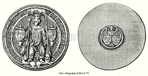 Great Seal of Henry VI. Illustration from Old England, A Pictorial Museum edited by Charles Knight (James Sangster & Co, c 1845).