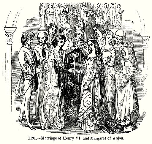 Marriage of Henry VI and Margaret of Anjou. Illustration from Old England, A Pictorial Museum edited by Charles Knight (James Sangster & Co, c 1845).