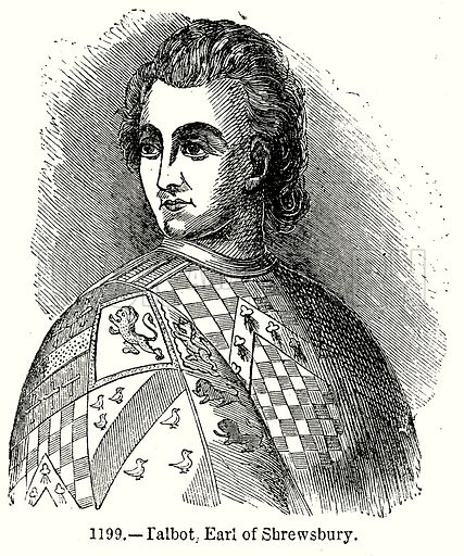 Talbot, Earl of Shrewsbury. Illustration from Old England, A Pictorial Museum edited by Charles Knight (James Sangster & Co, c 1845).