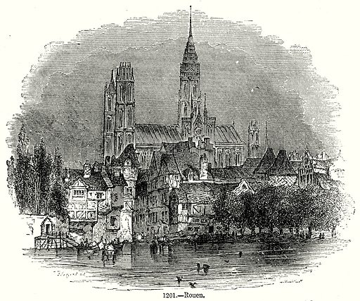 Rouen. Illustration from Old England, A Pictorial Museum edited by Charles Knight (James Sangster & Co, c 1845).