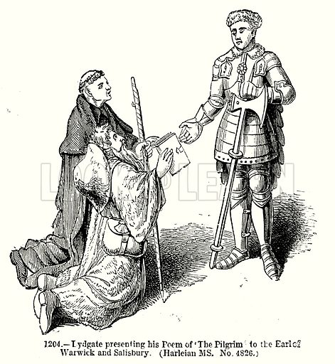 Lydgate presenting his Poem of The Pilgrim to the Ear lof Warwick and Salisbury. (Harleian MS. No. 4826.) Illustration from Old England, A Pictorial Museum edited by Charles Knight (James Sangster & Co, c 1845).