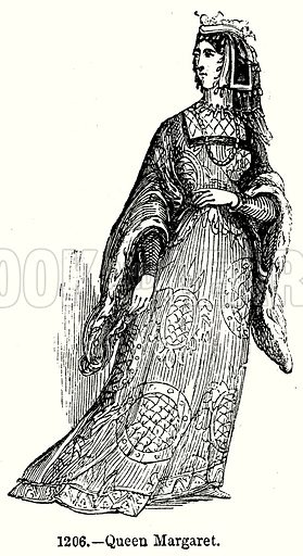 Queen Margaret. Illustration from Old England, A Pictorial Museum edited by Charles Knight (James Sangster & Co, c 1845).