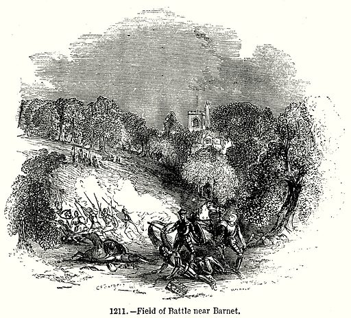Field of Battle near Barnet. Illustration from Old England, A Pictorial Museum edited by Charles Knight (James Sangster & Co, c 1845).