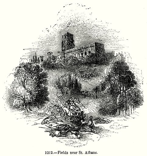 Fields near St. Albans. Illustration from Old England, A Pictorial Museum edited by Charles Knight (James Sangster & Co, c 1845).