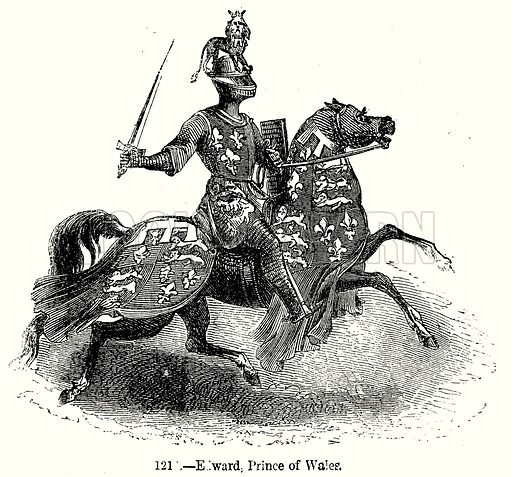 Edward, Prince of Wales. Illustration from Old England, A Pictorial Museum edited by Charles Knight (James Sangster & Co, c 1845).