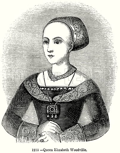 Queen Elizabeth Woodville. Illustration from Old England, A Pictorial Museum edited by Charles Knight (James Sangster & Co, c 1845).