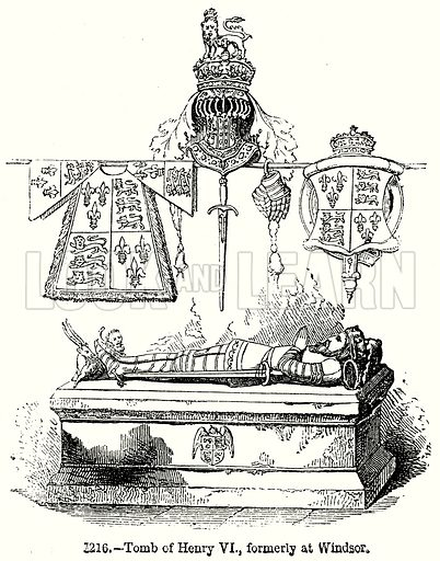 Tomb of Henry VI, formly at Windsor. Illustration from Old England, A Pictorial Museum edited by Charles Knight (James Sangster & Co, c 1845).