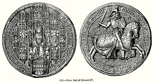 Great Seal of Edward IV. Illustration from Old England, A Pictorial Museum edited by Charles Knight (James Sangster & Co, c 1845).