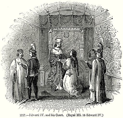 Edward IV and his Court. (Royal MS. 15 Edward IV.) Illustration from Old England, A Pictorial Museum edited by Charles Knight (James Sangster & Co, c 1845).