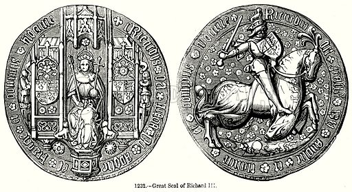Great Seal of Richard III. Illustration from Old England, A Pictorial Museum edited by Charles Knight (James Sangster & Co, c 1845).