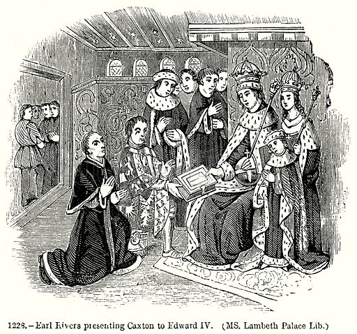 Earl Rivers presenting Caxton to Edward IV. (MS. Lambeth Palace Lib.) Illustration from Old England, A Pictorial Museum edited by Charles Knight (James Sangster & Co, c 1845).