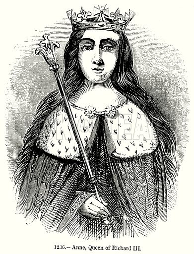 Anne, Queen of Richard III. Illustration from Old England, A Pictorial Museum edited by Charles Knight (James Sangster & Co, c 1845).