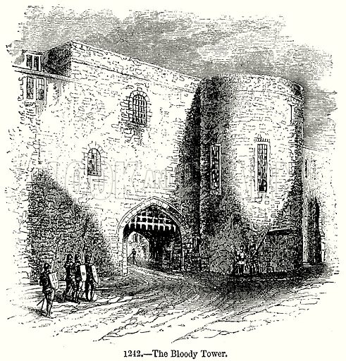 The Bloody Tower. Illustration from Old England, A Pictorial Museum edited by Charles Knight (James Sangster & Co, c 1845).