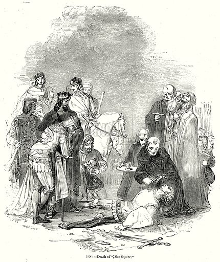 """Death of """"The Squire."""" Illustration from Old England, A Pictorial Museum edited by Charles Knight (James Sangster & Co, c 1845)."""
