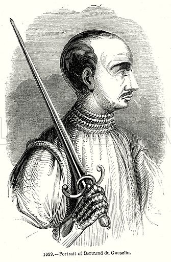 Portrait of Bertrand du Guesclin. Illustration from Old England, A Pictorial Museum edited by Charles Knight (James Sangster & Co, c 1845).